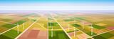 Wind Turbine Energy Renewable Station Field Background Flat Vector Illustration