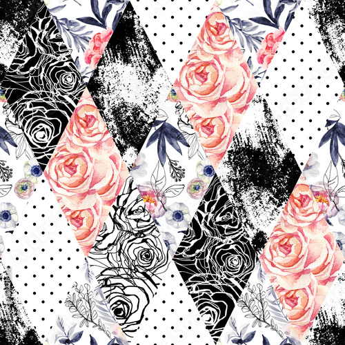 Abstract watercolor and ink doodle flowers, leaves, weeds background. - 158328930