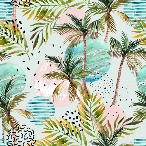 Abstract summer tropical palm tree background. - 158328961