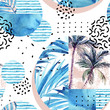 Watercolor tropical floral geometric shapes seamless pattern.