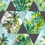 Watercolor tropical leaves and palm trees in geometric shapes seamless pattern - 158331373
