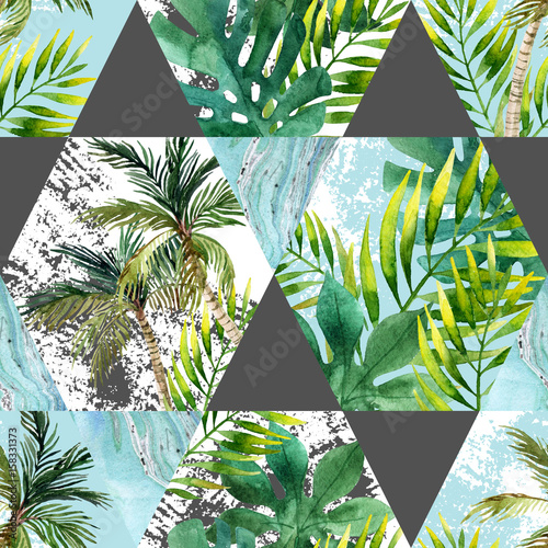 Cotton fabric Watercolor tropical leaves and palm trees in geometric shapes seamless pattern