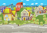 cartoon scene of a city stage for different usage / illustration for children