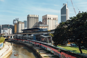 Klang river and cityscape that viewed from sky train station in Kuala Lumpur, Malaysia.