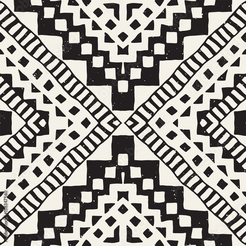 Hand drawn painted seamless pattern. Vector tribal design background. Ethnic motif. Geometric ethnic stripe lines illustration. For art prints, textile, wallpaper, wrapping paper. - 158347560