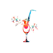 Colorful Wineglass  Saxophone And Music Notes   Illustration  For Restaurant Poster Restaurant Menu Music Events Live Music And Festivals Sticker