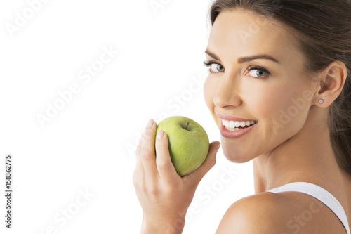 Foto Murales Woman hold green apple