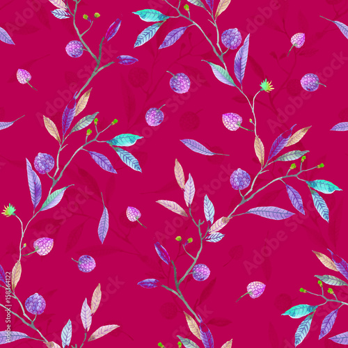 Cotton fabric Watercolor pine cones branch leaves