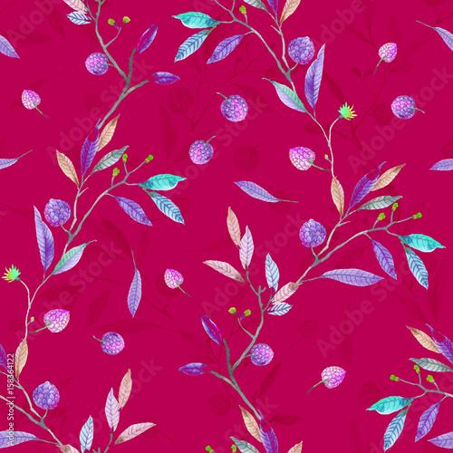 Materiał do szycia Watercolor pine cones branch leaves