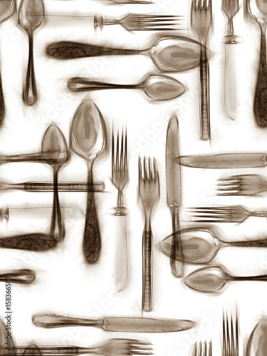 Cutlery seamless pattern. - 158366503