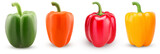 Set green, red, orange, yellow bell peppers