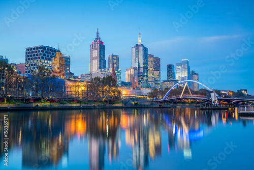 Staande foto Athene Melbourne city skyline at twilight