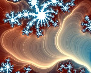 Vivid sparkling fractal background in blue and beige colors