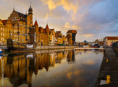 colorful gothic facades of the old town in Gdansk, Poland, on sunset