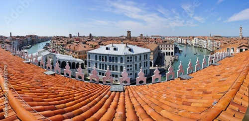 Fotobehang Oranje eclat Landscape view over the red roofs of Venice, Italy