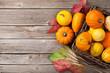 Quadro Autumn pumpkins on wooden table
