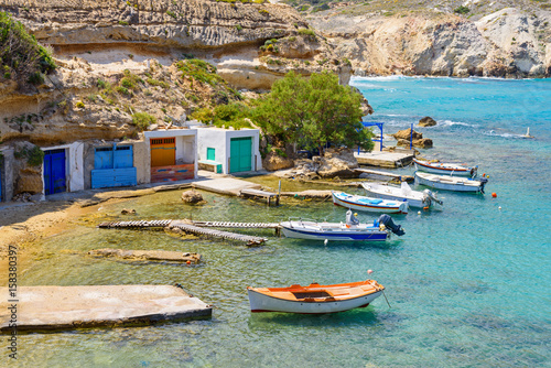Foto op Canvas Caraïben Picturesque fishing village of Mandrakia with traditional shelters for the boats (sirmata) , Milos Island. Greece.
