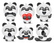 Set of panda cartoon emoji characters in different situations - 158382732
