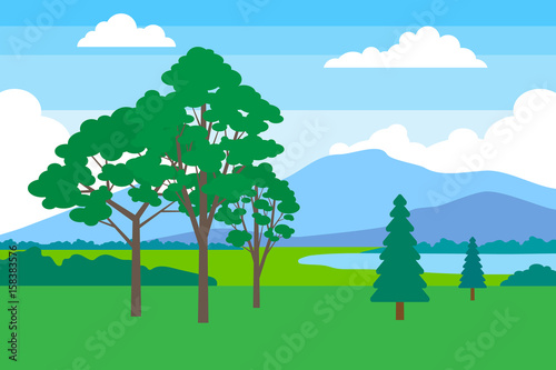 Fotobehang Blauw beautiful summer landscape with trees mountain and lake
