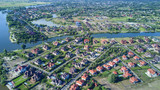 Aerial view of residential neighborhood - 158385771