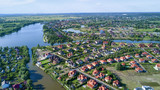 Aerial view of residential neighborhood - 158385778