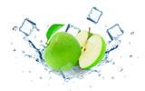 Apple splash water and ice