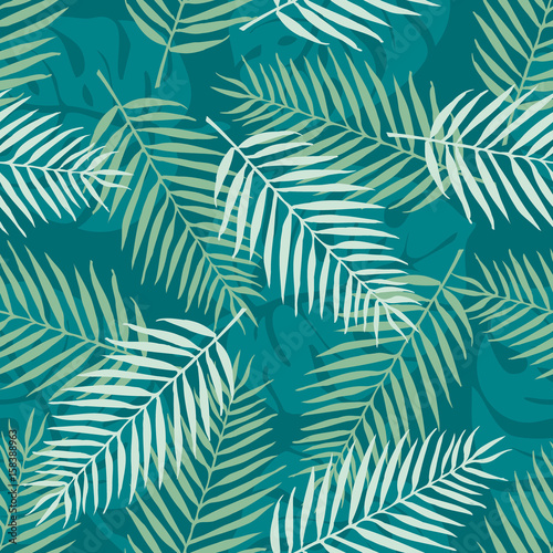 Fashion seamless vector pattern. Tropical leaf. Hawai. Fabric. Summer time