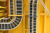 Cable tray with electrical wiring arrange on ceiling at offshore platform - 158389507