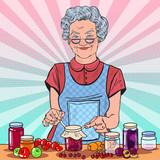 Fototapety Pop Art Happy Senior Woman Making Homemade Jam. Healthy Eating. Vector illustration