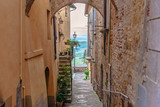 View of a street of Montepulciano, Tuscany, Italy