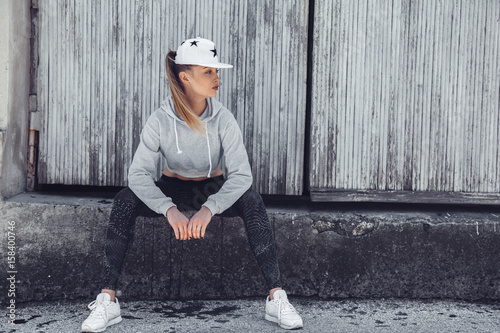Fitness sporty girl wearing fashion clothes
