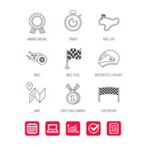 Race flag and speed icons. Winner medal, motorcycle helmet and timer linear signs. Map navigation flat line icons. Report document, Graph chart and Calendar signs. Laptop and Check web icons. Vector