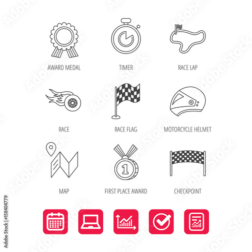 Tuinposter F1 Race flag and speed icons. Winner medal, motorcycle helmet and timer linear signs. Map navigation flat line icons. Report document, Graph chart and Calendar signs. Laptop and Check web icons. Vector