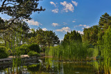 Image of Japanese Garden located on Margit Island of Budapest, Hungary during sunny summer day