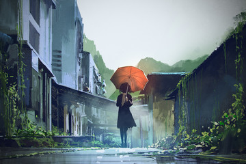 mysterious woman holds orange umbrella standing on street in abandoned city with digital art style, illustration painting © grandfailure