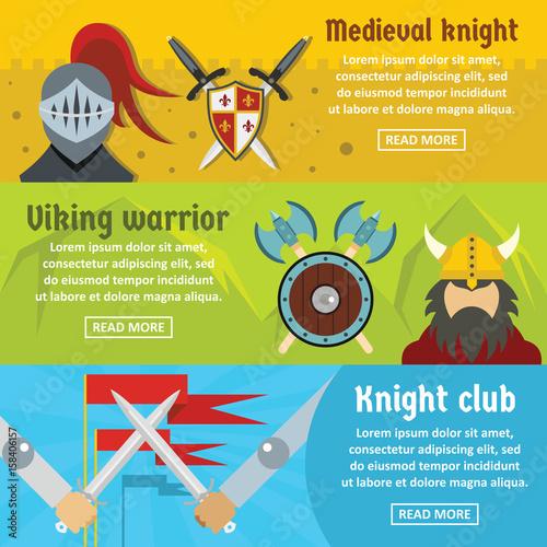 Foto op Aluminium Kasteel Medieval knight banner horizontal set, flat style