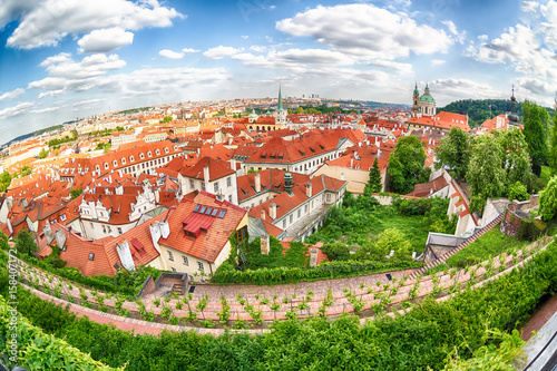 Poster Houses with traditional red roofs and trees in Prague Mala Strana district in the Czech Republic