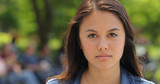 Young Asian woman in city face portrait - 158413140