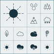 Nature Icons Set. Collection Of Water Drops, Cold Climate, Forest And Other Elements. Also Includes Symbols Such As Rain, Landscape, Wood.