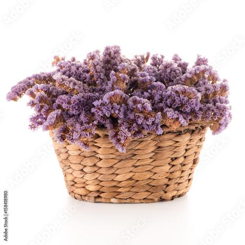 Basket with purple flowers