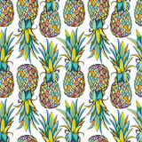 Pineapples seamless pattern - 158420942