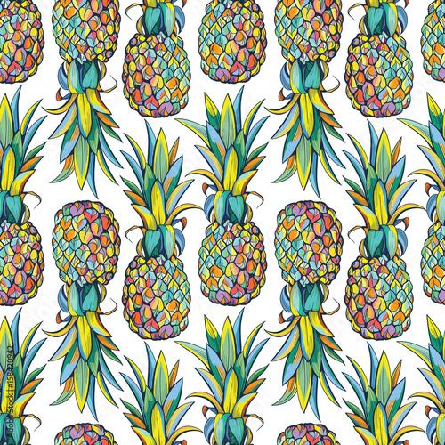 Cotton fabric Pineapples seamless pattern