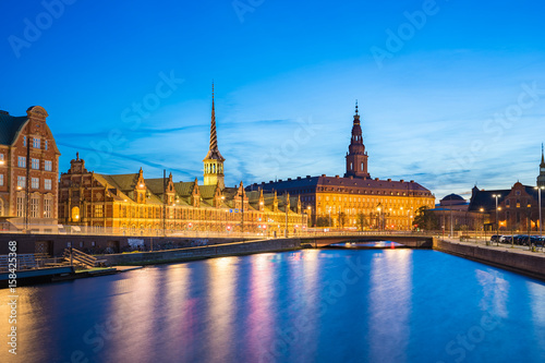 Christiansborg Palace at night in Copenhagen city, Denmark Poster