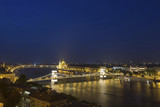 Chain Bridge across the Danube in Budapest at night