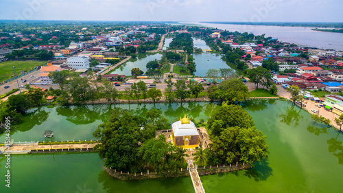 beautiful Prathat Phanom pagoda at Kong river © Narong Niemhom