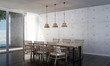 3D rendering interior design of minimal dining room and concrete wall and sea view