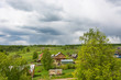 Panorama of the village of Mikhailovskoye from the bell tower of the Church of the Holy Archangel Michael and the bodiless hosts.