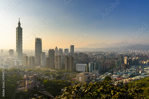 Taipei, Taiwan city skyline at sunset. Poster