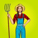 Fototapety Girl farmer with pitchfork pop art vector