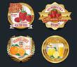 Set of Organic Fruit golden labels